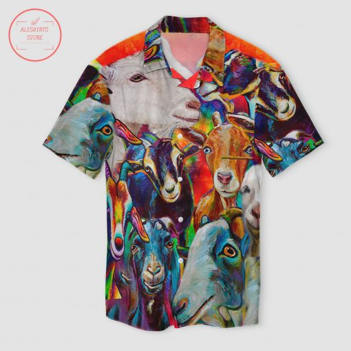 Official Funny Goat Colorful Hawaii Shirt