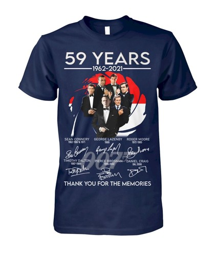 Hot 59 years 1962 2021 James Bond Thank You For The Memories Shirt