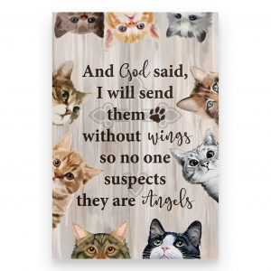 Cat and god said I will send them without wings so no one suspects they are angels poster