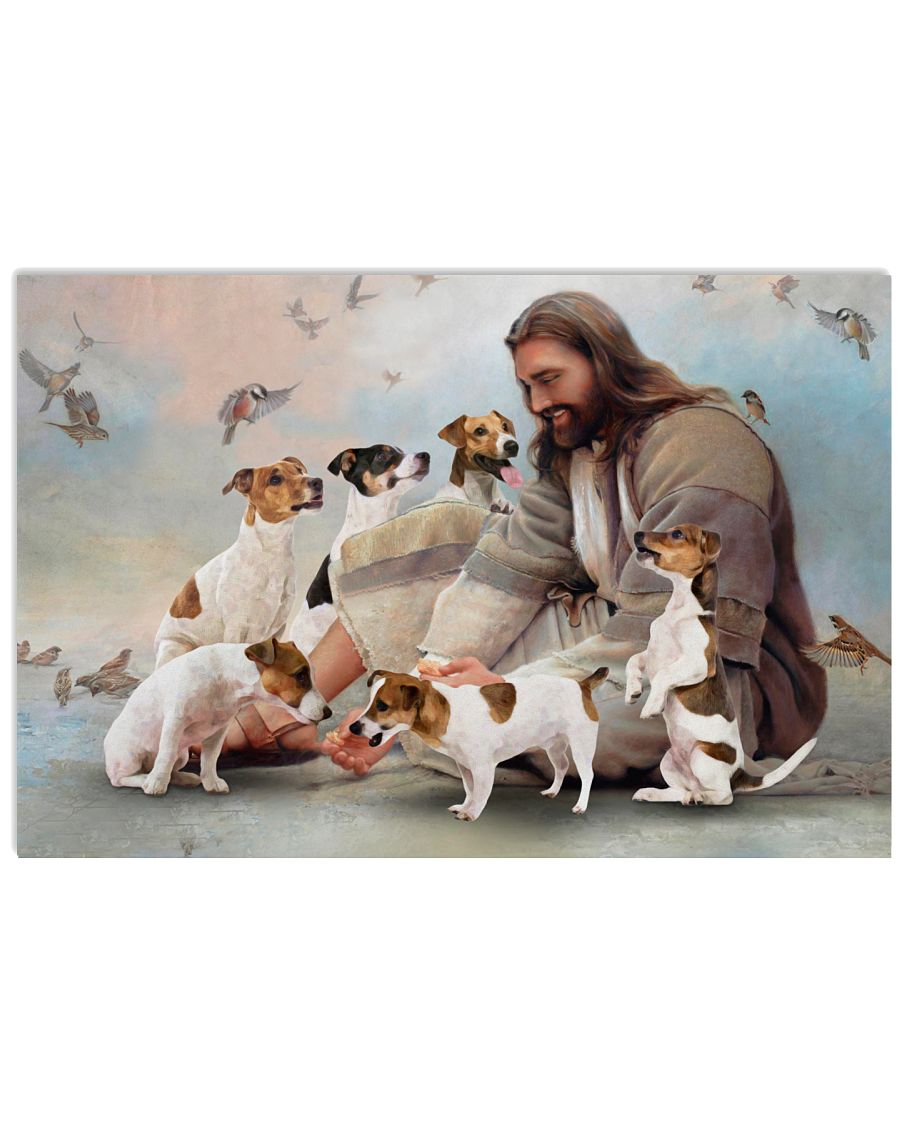 God surrounded by Jack Russell Poster