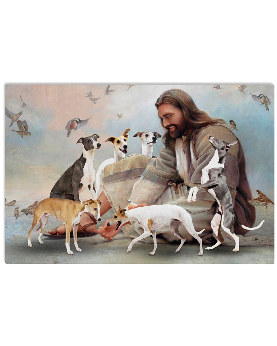 God surrounded by whippet poster