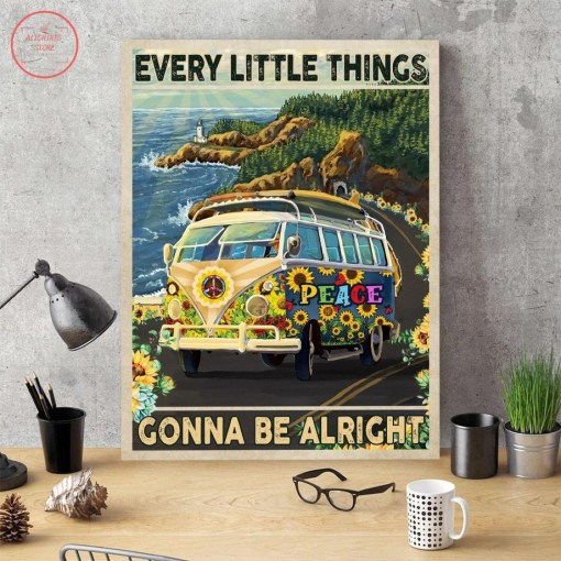New Hippie Bus Every Little Things Gonna Be Alright Canvas