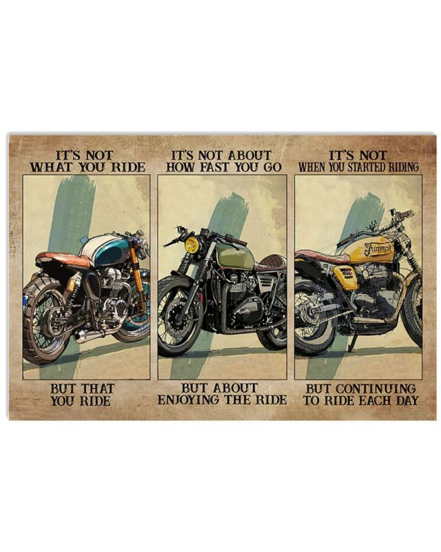 It's not what you ride it's not about how fast you go but about enjoying the ride poster
