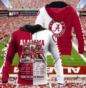 Alabama crimson tide thank for the memories 3d hoodie