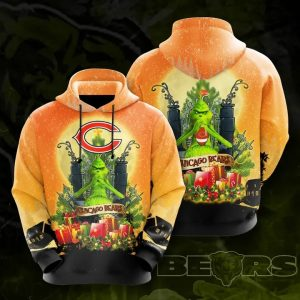 Grinch Chicago bears 3d all over print hoodie