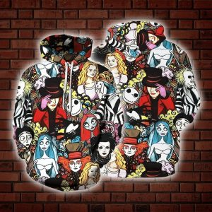 Tim burton characters 3d all over print hoodie