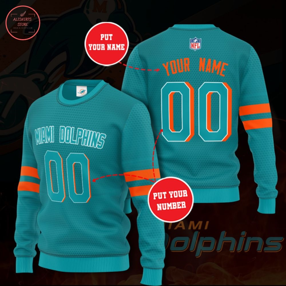 NFL Miami Dolphins Personalized Sweater