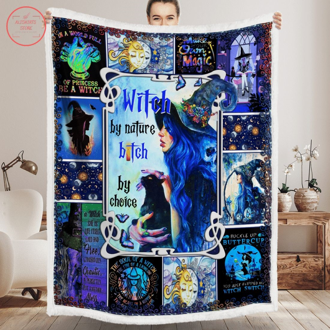 Witch By Nature Bitch Halloween Blanket